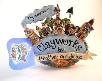 Blue Sky Clayworks My Hometown Billboard Sign Heather Goldminc Retired