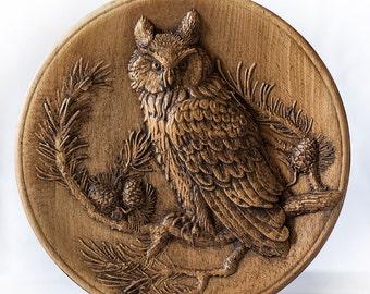 wood owl plate