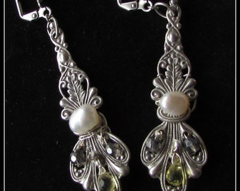 Sterling Silver Plated Earring – Victorian Bouquet