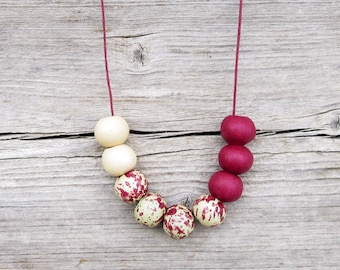 Burgundy and Beige Necklace, Ceramic Necklace, Boho Necklace, Geometric Necklace, Bordeaux  Necklace, Beige Necklace