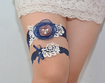 royal blue bridal garter set, lace garter, wedding garter, something blue garter, garter with blue
