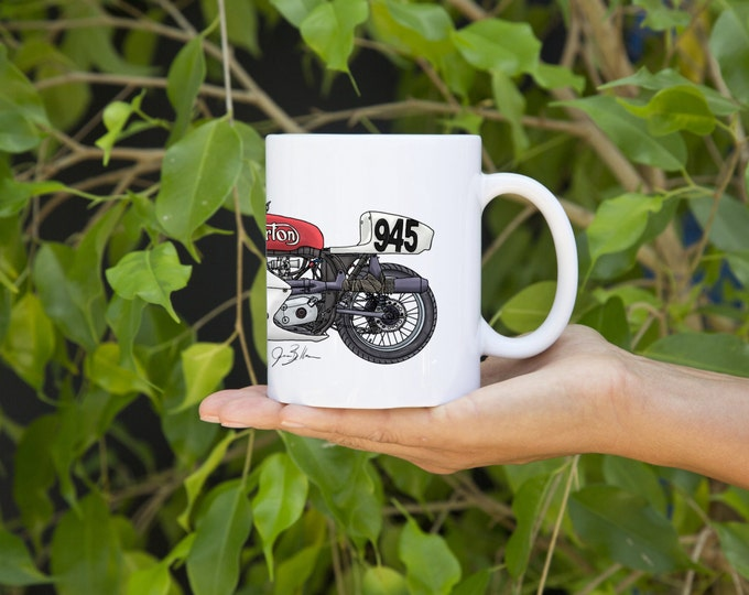 KillerBeeMoto: U.S. Made Limited Release Vintage British Racing Motorcycle Coffee Mug Pen And Ink (White)