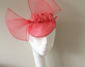Coral Pink Wedding Hat/Fascinator