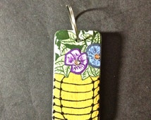 Domino, Hand Painted Domino, Hanging Basket, Floral, Wire Basket, Charm