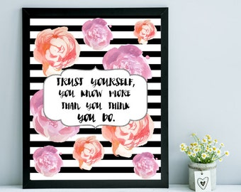Trust Yourself Wall Art, Floral & Stripes Wall Print, Gift for Her, Dorm Decor, Apartment Wall Art, Trust Yourself Wall Print, Wall Hanging