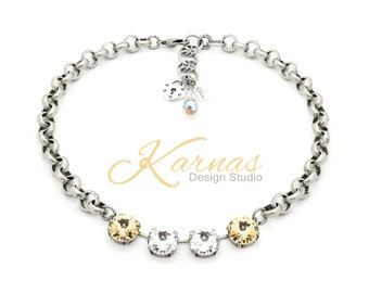 CRYSTAL SILK 14mm Crystal Choker Made With Swarovski Elements *Antique Silver *Karnas Design Studio *Free Shipping