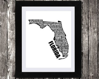 "Map of Florida, Typographic Florida Map, Florida State Map, Instant Download, Florida Map, Wall Art, Black, Florida, Map Art, 8x10"""