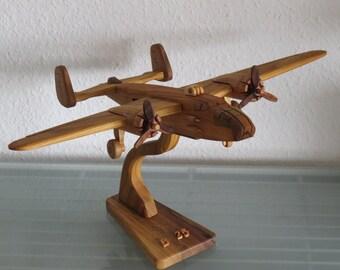 Vintage airplane aviator B-25 Mitchel bomber with stand HANDMADE NEW wood