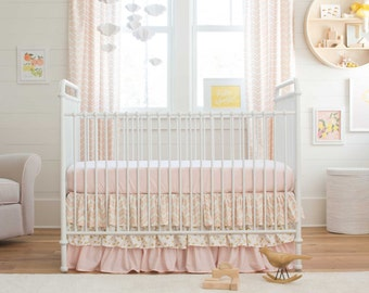 Girl Baby Crib Bedding: Pale Pink and Gold Chevron 2-Piece Crib Bedding Set by Carousel Designs