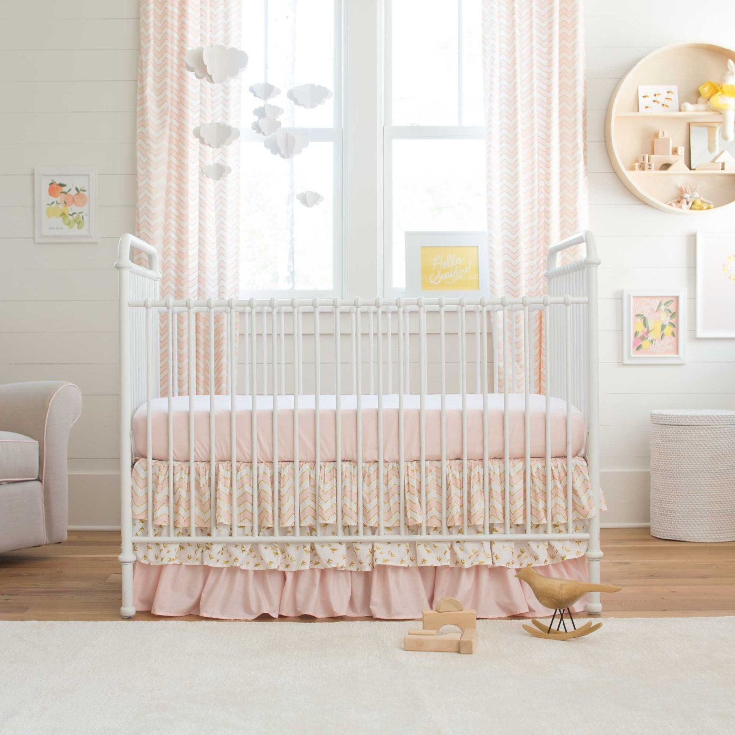 Girl Baby Crib Bedding Pale Pink And Gold Chevron 2 Piece