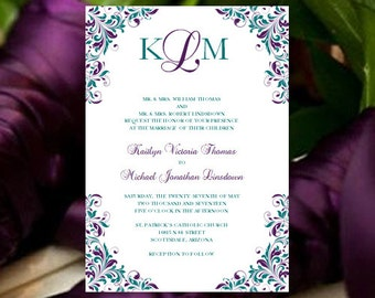 "Peacock Purple & Teal Wedding Invitation ""Kaitlyn"" Printable Template Make Your Own Invitations All Colors Av Instant D Word.doc DIY U Print"