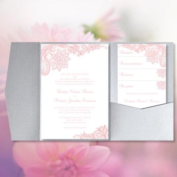 pocket fold wedding invitations vintage lace blush