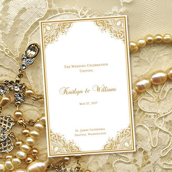 Wedding Anniversary Program Ideas: Wedding Program Template Vintage Gold 8.5 X 11