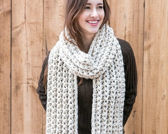 Long Wool Scarf // Chunky Knit Scarf // Winter Scarves // THE JULES shown in Wheat