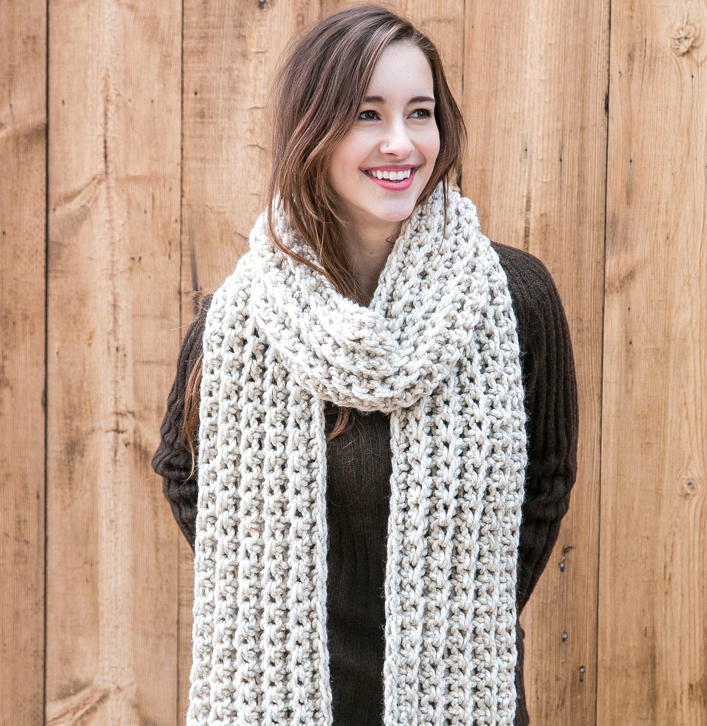 Knitting Pattern For Long Scarf : Long Wool Scarf // Chunky Knit Scarf // Winter Scarves // THE