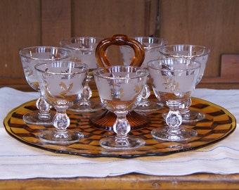 "Libbey ~ Set of Seven ~ ""Golden Foliage"" ~ Gold Frost ~ Leaf ~ Gold Leaf Frost ~ Stemware ~ Cocktail/Wine Glasses ~ 4ozs.~ 4"" Tall ~1953-78"