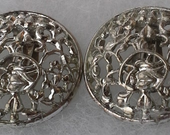 Vintage Sarah Coventry silver tone filigree clip round earrings