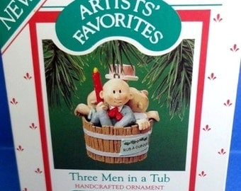 1987 Three Men in a Tub Hallmark Retired Ornament