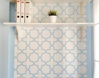 Moroccan Octagram wall stencil - Large and reusable stencils for walls - Wallpaper look - Easy home decor