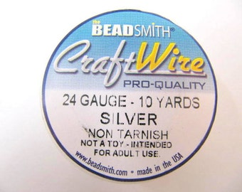 Silver Craft Wire 24 Gauge Round , Spool, Non-Tarnish, Silver Plated, 10 Yards, Beadsmith, Wire Wrapping, Soft Temper