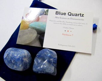 Blue Quartz Tumbled Stones, 2 Large Stones With Wallet Card And Pouch, Use For Chakra, Reiki, Feng Shui, Yoga, Rock Collection,Meditation