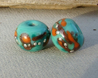 Lampwork Bead Pair, Earring Beads, Celadon, Orange, Brown,Fine Silver - Abstract Organic Lampwork Bead Set, Handmade Lampwork Beads SRA