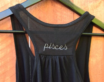 Pisces Embroidered Astrological Tank Top / Constellation Custom Embroidery