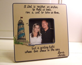 Personalized Gift for Dad from daughter From son Picture frame for Dad Father Christmas gift for Dad Light house frame Nautical quote frame