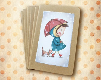 """Mini notebook """"Snow"""" - Little bloy with dog and umbrella under the snow"""