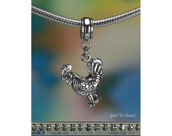 Sterling Silver Rooster Charm or European Style Charm Bracelet Chicken