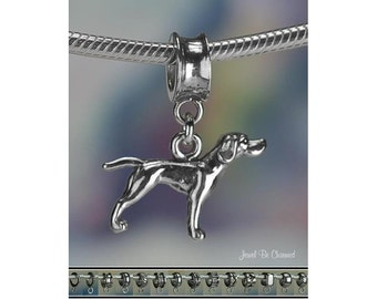 Pointer Charm or European Style Bracelet Sterling Silver Solid 925 Dog