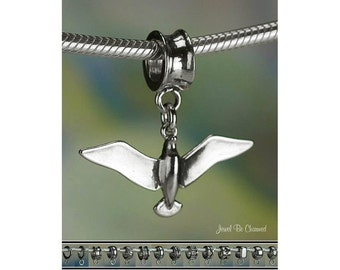 Sterling Silver Seagull Charm or European Style Charm Bracelet .925