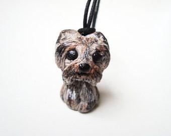 Baby yorkie necklace, Handmade yorkshire terrier, Polymer clay dog, Yorkie necklace, Dog jewelry