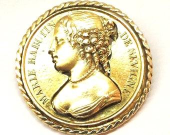 Marie Rabutin Brooch - Vintage, Classic, Gold Tone, Cameo, Silhouette Pin