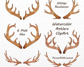 Watercolor Antlers Clipart, 6 PNG files, Antler Clip art, Watercolor clipart, Watercolour clip art,  Logo, Personal and Commercial Use