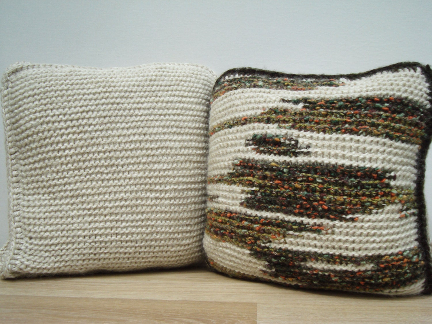Set Knitting Pillow White Pillow Home Decor Decorative