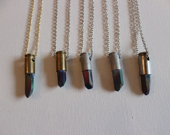 Titanium Quartz Bullet Necklace