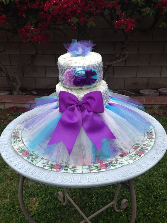 Tutu diaper cake kit grey purple aqua baby shower