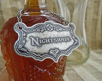 Nightshade Decanter Label, Etched German Silver-Nickel, Traditional Barware, Liquor, Gifts For Him, Housewarming, Handmade Metal Label