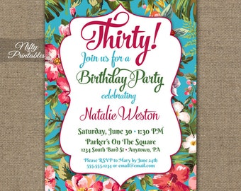Tropical flowers luau invitation colorful birthday party trp 15 00