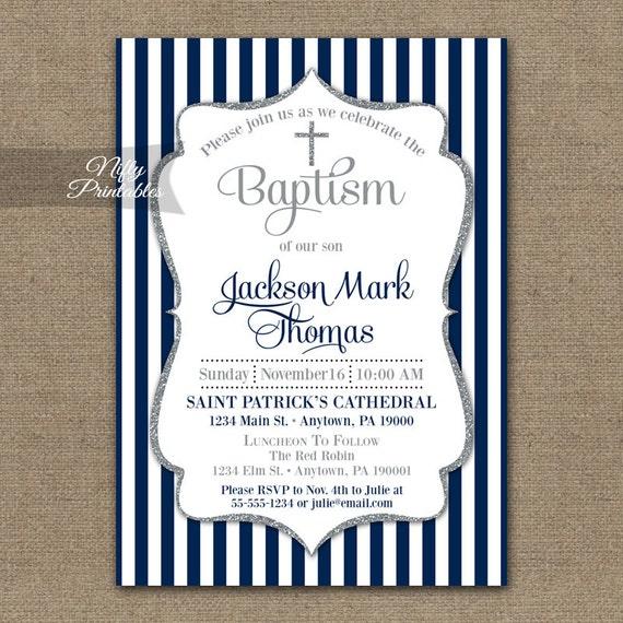 boys baptism invitations printable navy blue baptism, Baptism invites