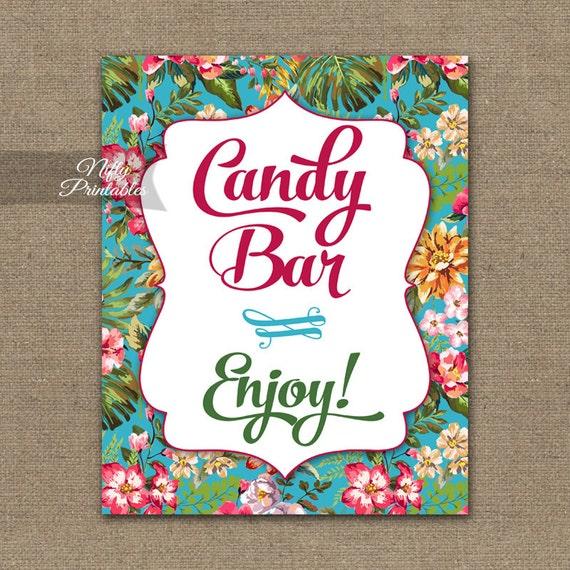 Candy Bar Sign Hawaiian Luau Candy Buffet Printable Candy