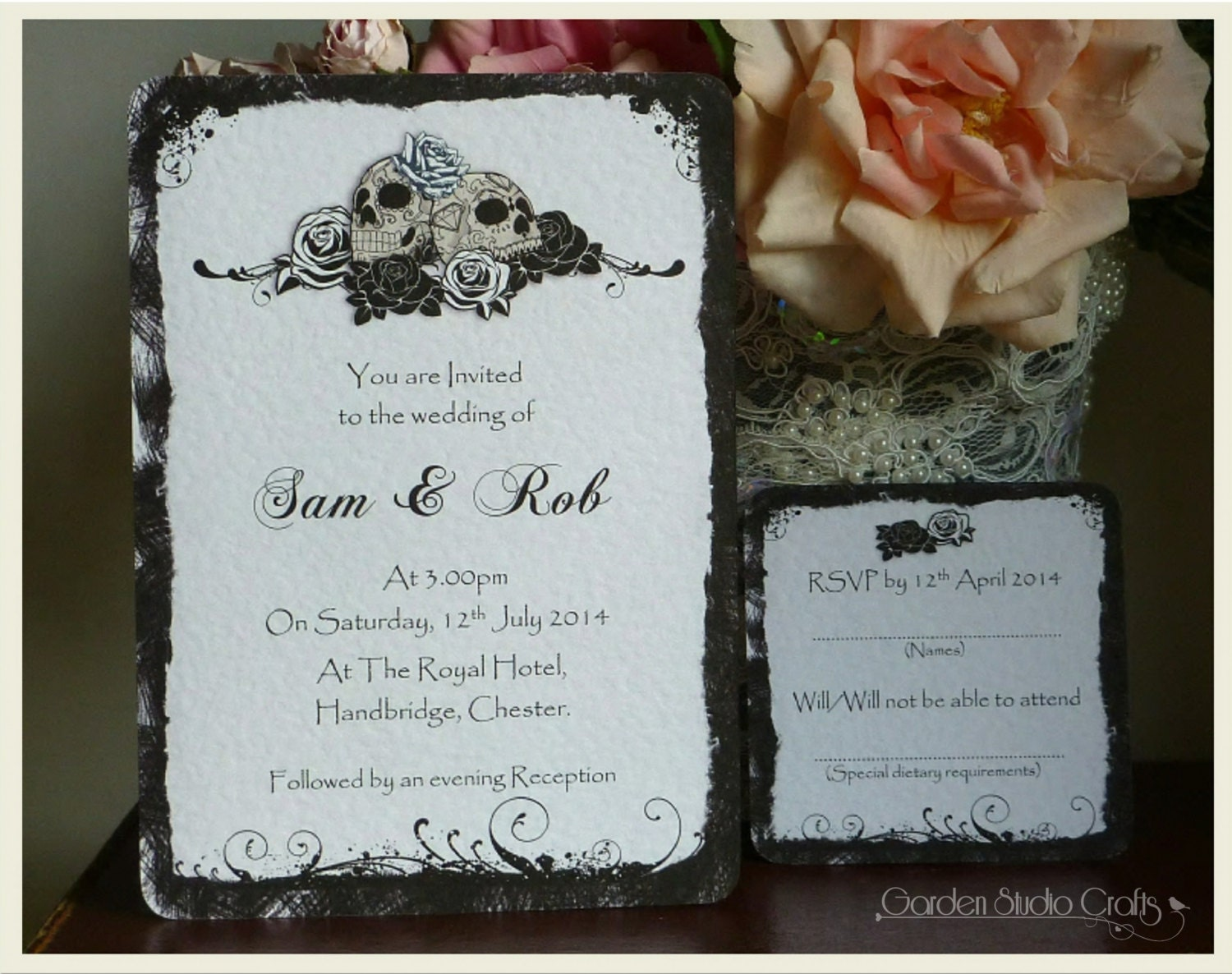 Skulls And Roses Wedding Invitation Goth Wedding Invitation