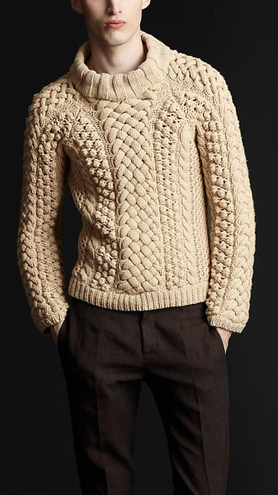 MADE TO ORDER Sweater turtleneck men hand knitted sweater