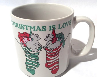 Vintage Russ Berrie 'Christmas is Love' Mug with Cute Mouse Couple