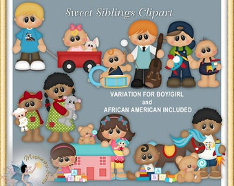 Sweet Siblings Clipart, brothers, sisters, family