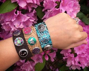 Snap Jewelry Handmade Embossed Genuine Leather Cuff Snap Bracelet - Snaps sold separately