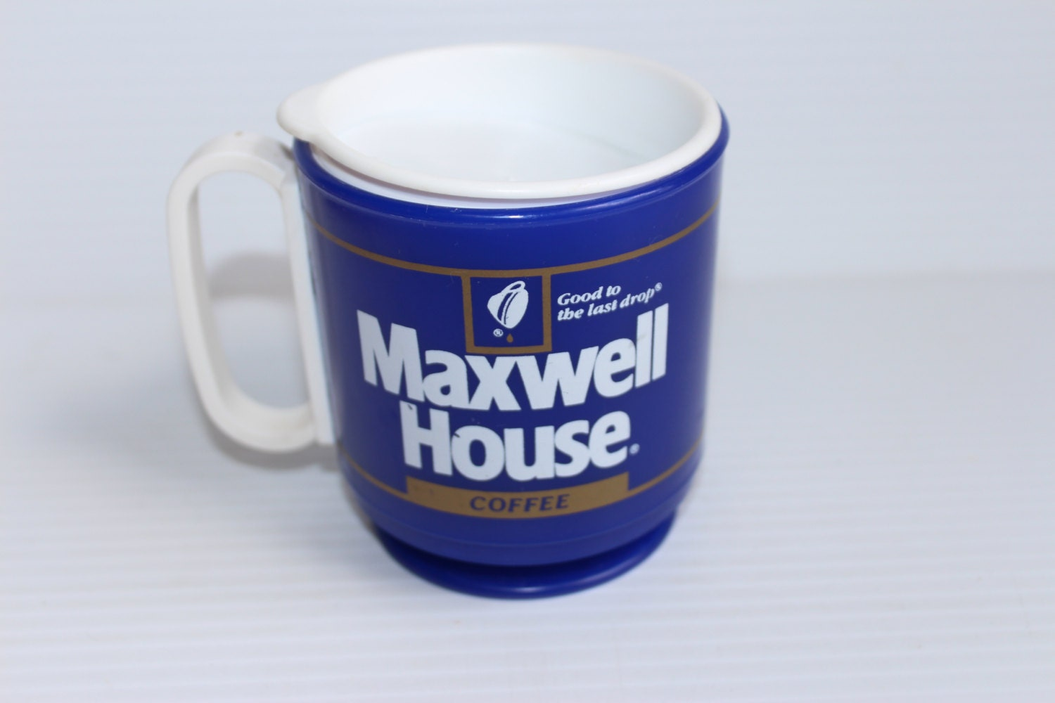 Maxwell House Coffee Travel Mug Vintage 1980s Plastic Coffee