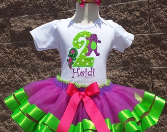 Barney and Baby Bop Birthday Number  Satin Ribbon Tutu-Personalized Birthday Tutu,Sizes 6m - 14/16