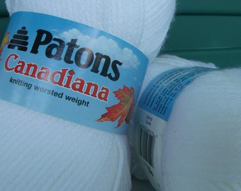 Patons Canadiana in White, Lot of 3 skeins